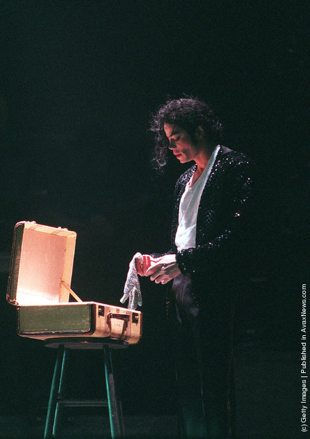 Singer Michael Jackson performs on stage in 1997 in Germany
