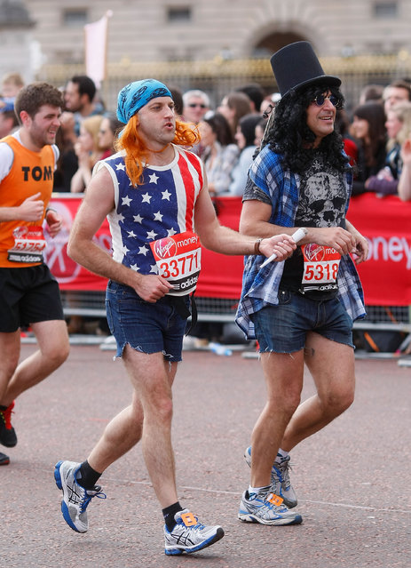Runners in fancy dress participate during the Virgin London Marathon 2012 on April 22, 2012 in London, England. (Photo by Tom Dulat/Getty Images)