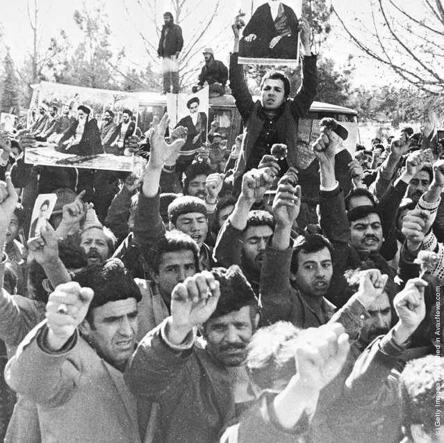 1979: Thousands of the Ayatollah Khomeini's supporters on the streets of Tehran calling for the religious leader's return