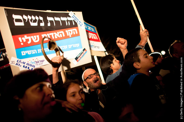 Israelis protest against gender segregation and violence towards women by ultra Orthodox Jewish extremists