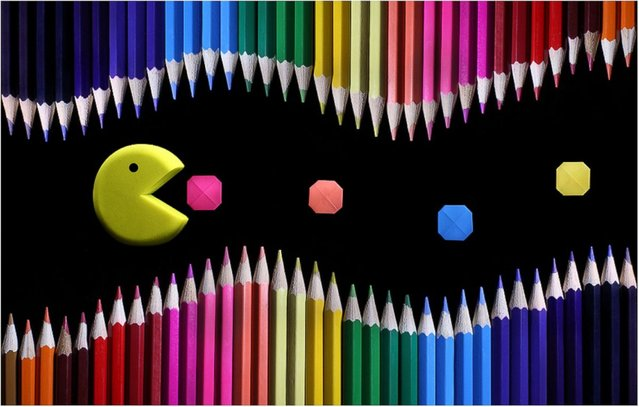 """Colored Pencil and Origami Landscapes: """"Pac-Man eats origami pac-dots"""". (Photo by Victoria Ivanova)"""