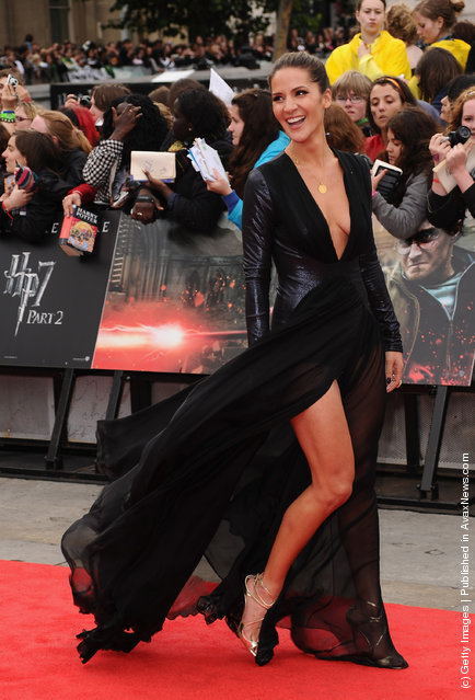 Amanda Byram attends the World Premiere of Harry Potter and The Deathly Hallows - Part 2 at Trafalgar Square