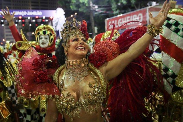 Drum queen Viviane Araujo of Salgueiro samba school performs during the second night of the Carnival parade at the Sambadrome in Rio de Janeiro, Brazil on February 24, 2020. (Photo by Ricardo Moraes/Reuters)