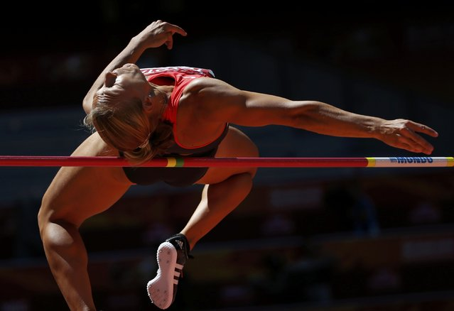 Jennifer Oeser of Germany competes in the high jump event of the women's heptathlon during the 15th IAAF World Championships at the National Stadium in Beijing, China, August 22, 2015. (Photo by Phil Noble/Reuters)