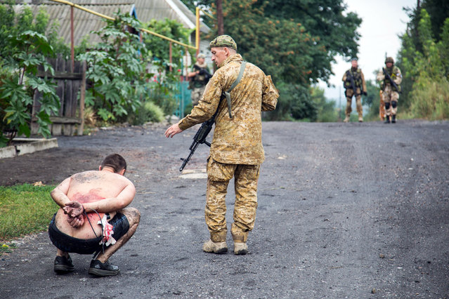 Armed Ukrainian forces detain a pro-Russian militant in the village of Chornukhine in the Lugansk region on August 18, 2014. A Ukrainian warplane was blown out of the sky over rebel-held territory as fierce clashes between government troops and pro-Russian insurgents left dozens of civilians dead. At least 415,800 people have fled their homes due to fighting between government forces and pro-Russian separatists in eastern Ukraine, the UN refugee agency said on August 20. (Photo by Oleksandr Ratushniak/AFP Photo)