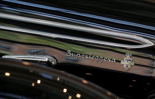 """Superleggera"" is seen on the hood of a 1939 Alfa Romeo 8C 2900B Lungo Touring Spider displayed at Sotheby's in New York City, New York, U.S. July 21, 2016. (Photo by Brendan McDermid/Reuters)"