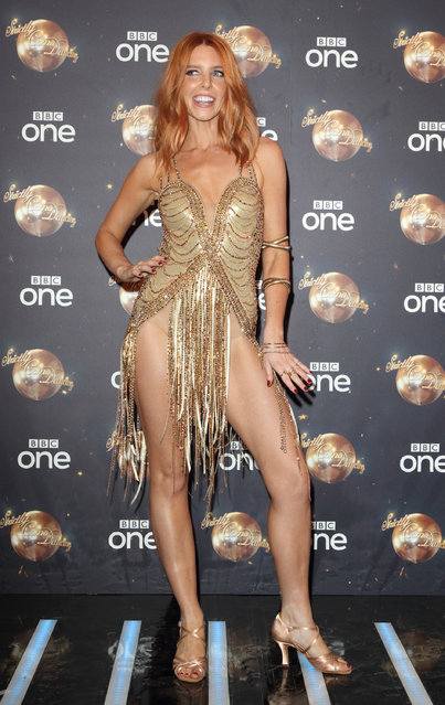 """English television presenter Stacey Dooley attends the red carpet launch for """"Strictly Come Dancing 2018"""" at Old Broadcasting House on August 27, 2018 in London, England. (Photo by Retna via WireImage)"""