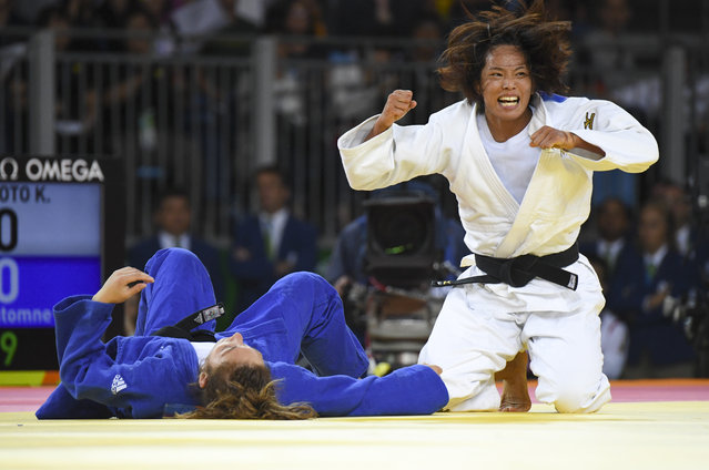 Koori Matsumoto (JPN) reacts after scoring a victory over Automne Pavia (FRA) in the Judo competition during the Rio Olympic Games on August 8, 2016 in Rio De Janeiro, Brazil. (Photo by Jonathan Newton/The Washington Post)