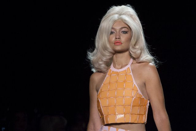 Model Gigi Hadid presents a creation from the Jeremy Scott Spring/Summer 2016 collection during New York Fashion Week in New York, September 14, 2015. (Photo by Andrew Kelly/Reuters)