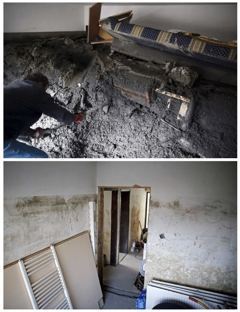 A combination photo shows a member of the Kovacevic family clearing mud inside his home during floods May 31, 2014 (top) and the same place after floods October 8, 2014 in Topcic Polje. (Photo by Dado Ruvic/Reuters)