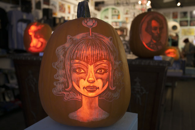 A Tara McPherson pumpkin created by the Maniac Pumpkin Carvers at Cotton Candy Machine in Brooklyn, N.Y. on October 18, 2014. (Photo by Siemond Chan/Yahoo Finance)