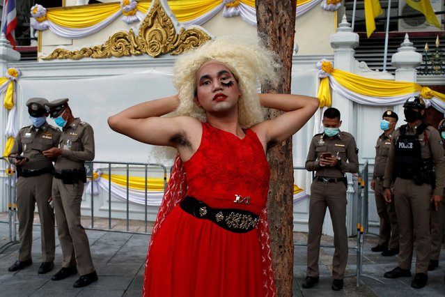 A member of the LGBT community poses during a protest demanding the resignation of Thailand's Prime Minister Prayuth Chan-o-cha, in Bangkok, Thailand, July 25, 2020. (Photo by Jorge Silva/Reuters)