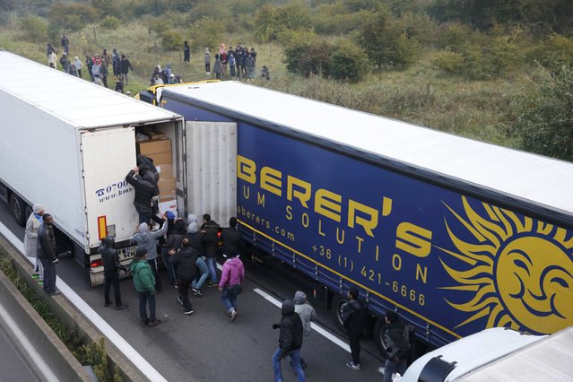 A dozen migrants attempt to board a lorry which heads towards the ferry terminal in Calais, France, October 3, 2015. (Photo by Pascal Rossignol/Reuters)