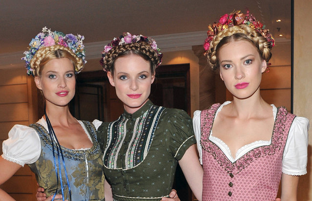 "Models pose during ""Wiesn Warm-up Party"" at the Bayerischer Hof in Munich, Bavaria on September 9, 2016. (Photo by Ursula Düren/DPA)"
