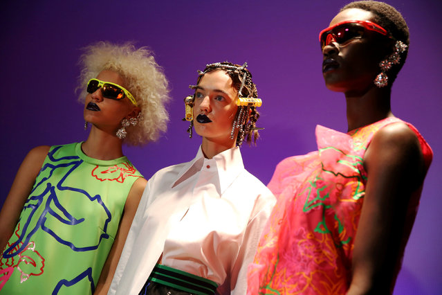 Models present creations at the Fyodor Golan presentation during London Fashion Week Spring/Summer 2017 in London, Britain September 19, 2016. (Photo by Neil Hall/Reuters)