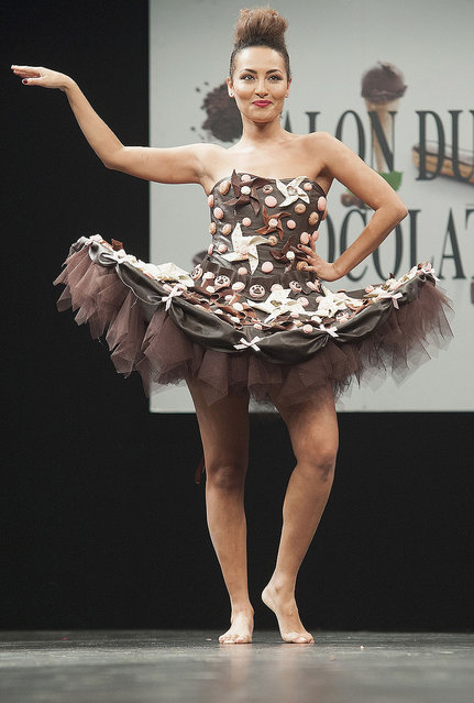 Hedia Charni walks the runway during the Chocolate fashion show as a part of the Salon Du Chocolat 2015 - Chocolate Fair at Parc des Expositions Porte de Versailles on October 27, 2015 in Paris, France. (Photo by Kay-Paris Fernandes/WireImage)