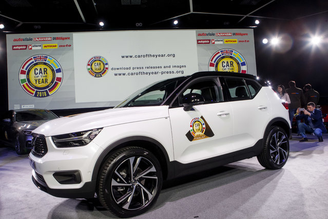"""The Volvo XC40 model was elected """"Car of the Year 2018"""", ahead of the 88th Geneva International Motor Show, at the Palexpo, in Geneva, Switzerland, Monday, March 5, 2018. (Photo by Salvatore Di Nolfi/Keystone via AP Photo)"""