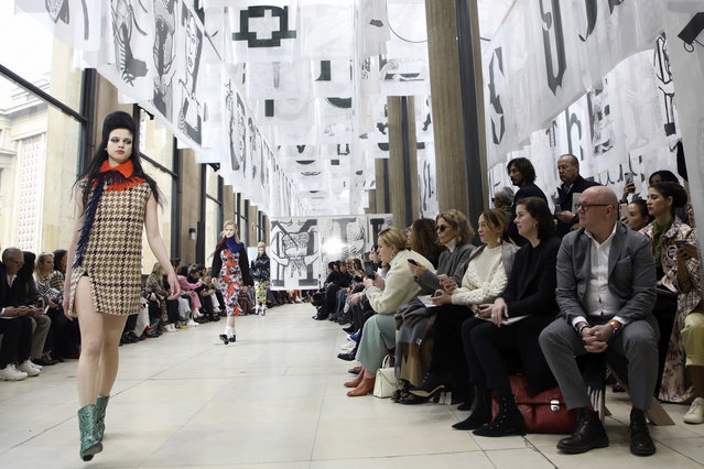 A model wears a creation for Miu Miu ready-to-wear fall/winter 2018/2019 fashion collection in Paris, Tuesday, March 6, 2018. (Photo by Vianney le Caer/Invision/AP Photo)