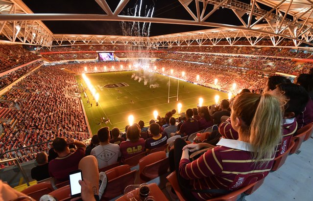 A general view of Suncorp Stadium before Game 3 of the 2020 State of Origin series between the New South Wales Blues and the Queensland Maroons at Suncorp Stadium in Brisbane, Australia, 18 November 2020. The State of Origin series is a best of three Rugby League series between New South Wales Blues and the Queensland Maroons. The match was played in front of almost 50.000 fans which is believed to be the biggest crowd at any sporting event in the world since the Covid-19 shut down of almost all sport competitions in March. (Photo by Darren England/EPA/EFE)