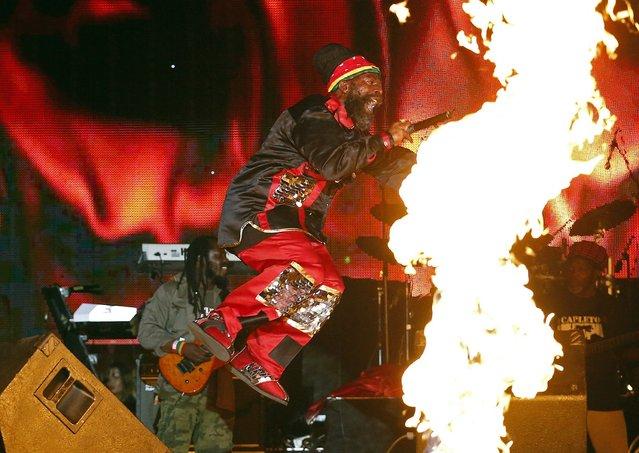 Jamaican reggae artist Capleton performs at the Sting 2014 concert in Kingston, December 27, 2014. (Photo by Gilbert Bellamy/Reuters)
