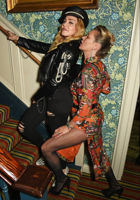 Madonna (L) and Kate Moss attend Edward Enninful's OBE dinner at Mark's Club on October 27, 2016 in London, England. (Photo by David M. Benett/Dave Benett/Getty Images for Edward Enninful)
