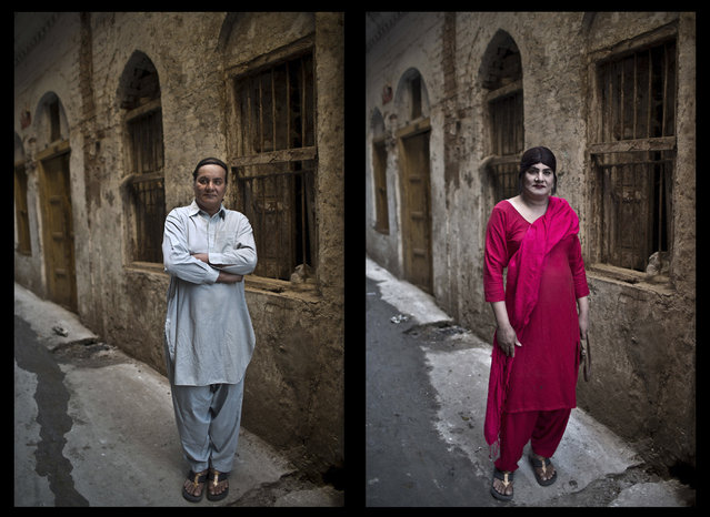 "This combination of two images taken between Thursday, Jan. 8, 2015 and  Friday, January 9, 2015, shows Pakistani Bakhtawar Ijaz, 43, posing for a picture in an alley of a neighborhood in Rawalpindi, Pakistan. ""I am a very shy man. Eyes always follow me when I walk out of the apartment that I share with a few friends who share the same job like mine (as) dancers"", says Ijaz. ""Being with them is like being with a family. When I am surrounded by them, I feel safe, respected and empowered"". (Photo by Muhammed Muheisen/AP Photo)"