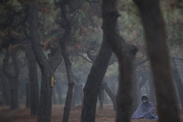 A Buddhist believer wearing mask meditates at Temple of Heaven Park during a heavy pollution day, December 9, 2015, in Beijing. (Photo by Feng Li/Getty Images)