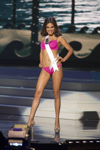 Noyonita Lodh, Miss India 2014, competes in the swimwear competition during the Miss Universe Preliminary Show in Miami, Florida in this January 21, 2015 handout photo. (Photo by Reuters/Miss Universe Organization)