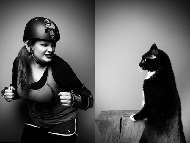 "Pet owner Jessica with her housecat, ""8Ball"". (Photo by Tobias Lang)"