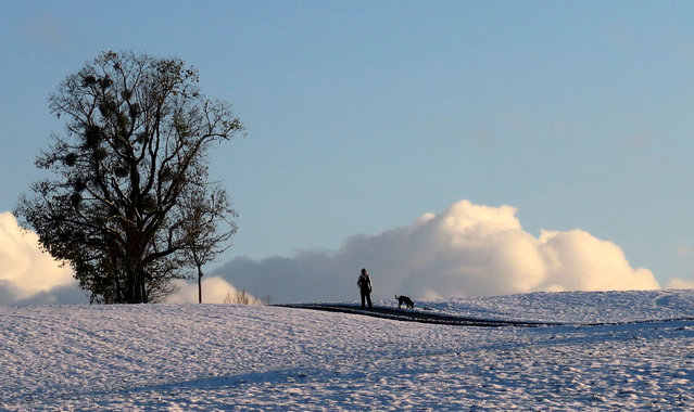A woman and her dog walk along a snow covered field in Warngau, November 8, 2016. (Photo by Michael Dalder/Reuters)