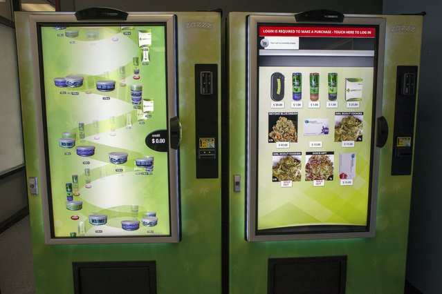 A view of ZaZZZ vending machines that contain cannabis flower, hemp-oil energy drinks, and other merchandise at Seattle Caregivers, a medical marijuana dispensary, in Seattle, Washington February 3, 2015. (Photo by David Ryder/Reuters)