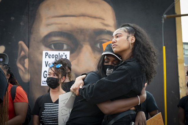 Emotions were high at a peaceful gathering of Atlanta area residents beside mural of George Floyd on April 20, 2021 following guilty verdicts of former Minneapolis police officer Derek Chauvin Tuesday. (Photo by Robin Rayne/ZUMA Wire/Rex Features/Shutterstock)