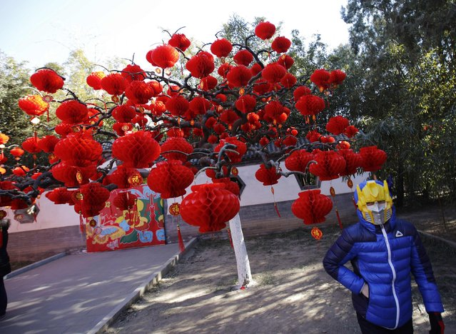 A boy, wearing a robot mask, poses in front of a tree decorated with paper lanterns, at the Temple Fair, which is part of Chinese New Year celebrations at Ditan Park, also known as the Temple of Earth, in Beijing, February 18, 2015. (Photo by Kim Kyung-Hoon/Reuters)