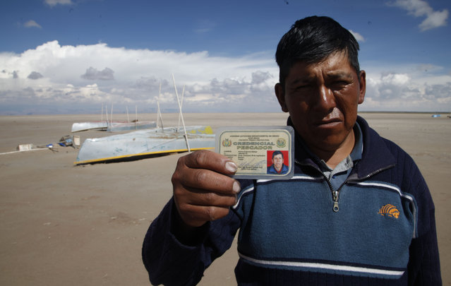 """In this January 12, 2016 photo, Abraham Fulguera shows his fisherman's credential, in the dried up Lake Poopo, on the outskirts of Untavi, Bolivia. """"I am the president of the September 10 Fishing Cooperative. We used to be 30 fishermen and there used to be ten or more fishing cooperatives in Lake Poopo. Now we work as construction laborers. Others have left to look for jobs. I hope we do not become a ghost town. We have faith that the lake will come back"""". (Photo by Juan Karita/AP Photo)"""