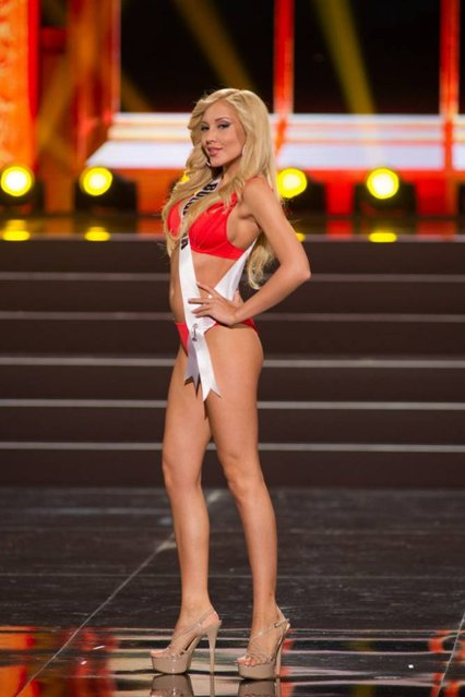 This photo provided by the Miss Universe Organization shows Veneta Krasteva, Miss Bulgaria 2013, competes in the swimsuit competition during the Preliminary Competition at Crocus City Hall, Moscow, on November 5, 2013. (Photo by Darren Decker/AFP Photo)