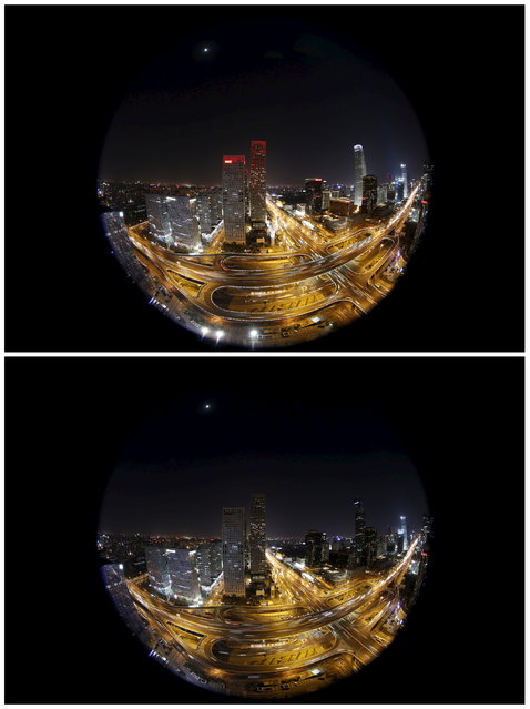 This combination picture shows Yintai Centre buildings before and during Earth Hour, when the red lights on top of the buildings have been switched off, in Beijing's central business district, March 28, 2015. (Photo by Kim Kyung-Hoon/Reuters)