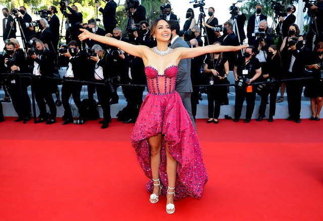 """Mexican model Patricia Contreras arrives for the screening of the film """"Tre Piani"""" (Three Floors) at the 74th edition of the Cannes Film Festival in Cannes, southern France, on July 11, 2021. (Photo by Reinhard Krause/Reuters)"""