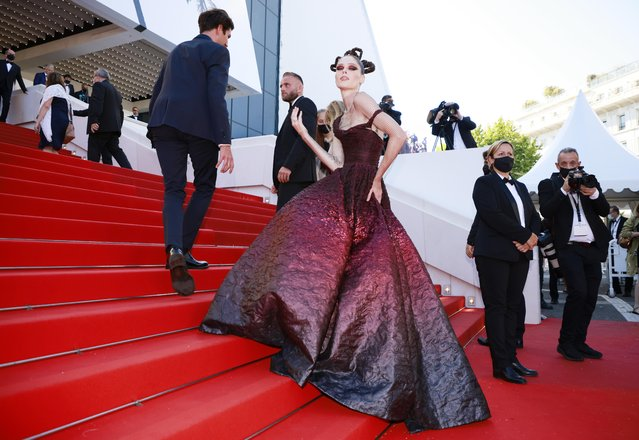 """Canadian model Coco Rocha arrives for the screening of the film """"Aline, The Voice Of Love"""" at the 74th edition of the Cannes Film Festival in Cannes, southern France, on July 13, 2021. (Photo by Sarah Meyssonnier/Reuters)"""