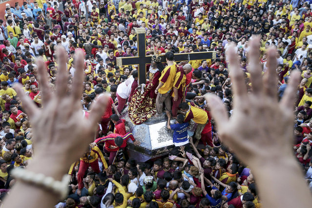 A Filipino Catholic devotee raises her hands during a procession ahead of the Black Nazarene feast day celebrations in Manila, Philippines, 07 January 2017. Philippine security forces are on high alert for possible terror attacks during the upcoming Black Nazarene feast day and procession on 09 January in Quiapo, Manila. Police officers, military soldiers and traffic officers will be deployed in key areas of the feast day to ensure the safety of devotees, which are expected to number in the millions. (Photo by Mark R. Cristino/EPA)