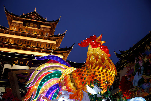 A giant lantern depicting a rooster is seen ahead of Spring Festival decorations at Yuyuan Garden, in Shanghai, China January 17, 2017. (Photo by Aly Song/Reuters)