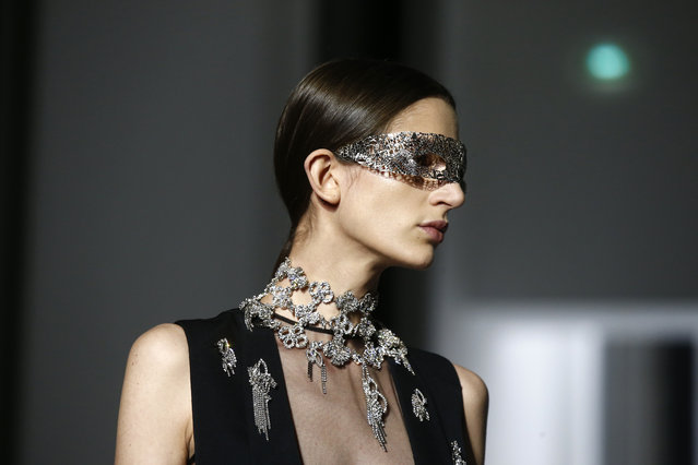 A model wears a creation for the Givenchy Spring/Summer 2019 Haute Couture fashion collection presented in Paris, Tuesday January 22, 2019. (Photo by Michel Euler/AP Photo)