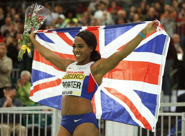 Tiffany Porter of Britain celebrates after placing third in the women's 60 meters hurdles during the IAAF World Indoor Athletics Championships in Portland, Oregon March 18, 2016. (Photo by Mike Blake/Reuters)