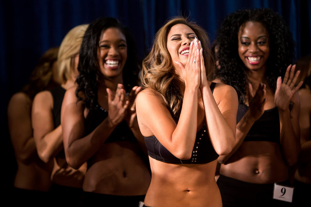 In this Sunday, May 3, 2015 photo, Sea Gals candidates rejoice after making the cut for the squad during the final round of the Sea Gal audition process at CenturyLink Field in Seattle. (Photo by Jordan Stead/Seattlepi.com via AP Photo)