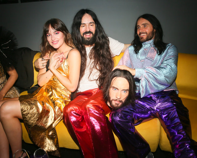Dakota Johnson, Alessandro Michele and Jared Leto at the Gucci Met Gala : After Party on May 6, 2019 in New York City. (Photo by Madison McGaw/Angela Pham & Jo)