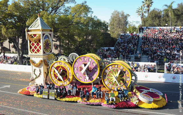 Rose Parade performers participate in the 123rd Annual Rose Parade in Pasadena, California
