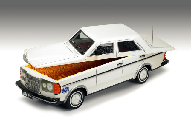 A coffin in the shape of a Mercedes Car. (Photo by Caters News Agency)