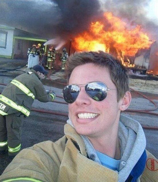 He's not an idiot bystander – he's an idiot fireman.