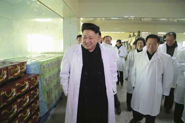 North Korean leader Kim Jong Un provides field guidance at Kumkop General Foodstuff Factory for Sportspersons in this undated photo released by North Korea's Korean Central News Agency (KCNA) in Pyongyang January 18, 2015. (Photo by Reuters/KCNA)