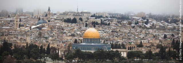 The dome of the rock is dusted with snow on March 2, 2012 in Jerusalem, Israel