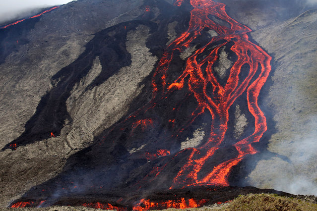Lava flows out of the Piton de la Fournaise volcano as it erupts on July 31, 2015 on the French island of La Reunion in the Indian Ocean. The Piton de la Fournaise started to erupt at 10am local time in the Faujas crater northeast of Dolomieu, according to a statement released by the Prefecture. (Photo by Richard Bouhet/AFP Photo)
